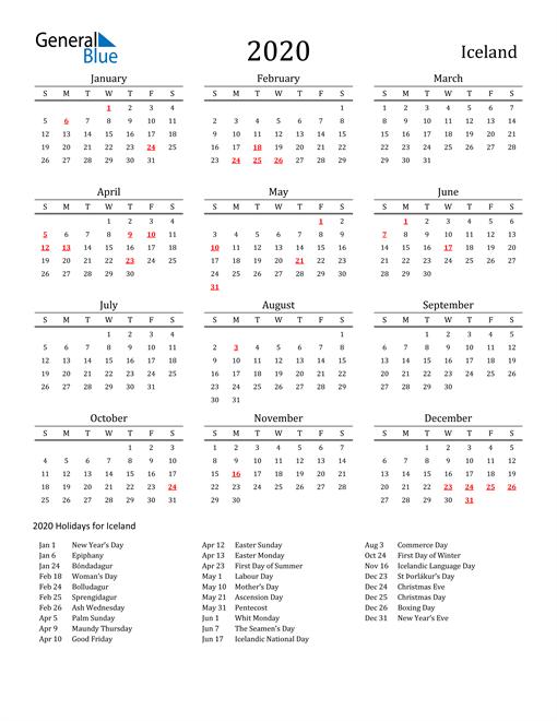 Iceland Holidays Calendar for 2020