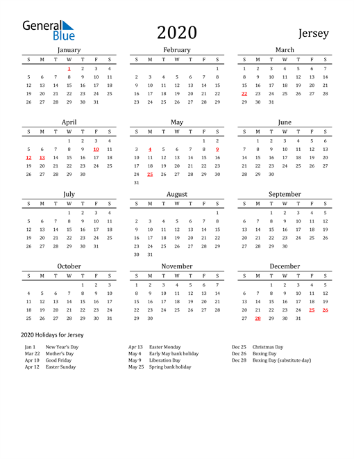 Image of 2020 Printable Calendar Classic for Jersey with Holidays