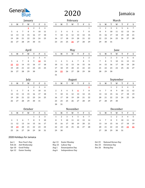 Image of 2020 Printable Calendar Classic for Jamaica with Holidays