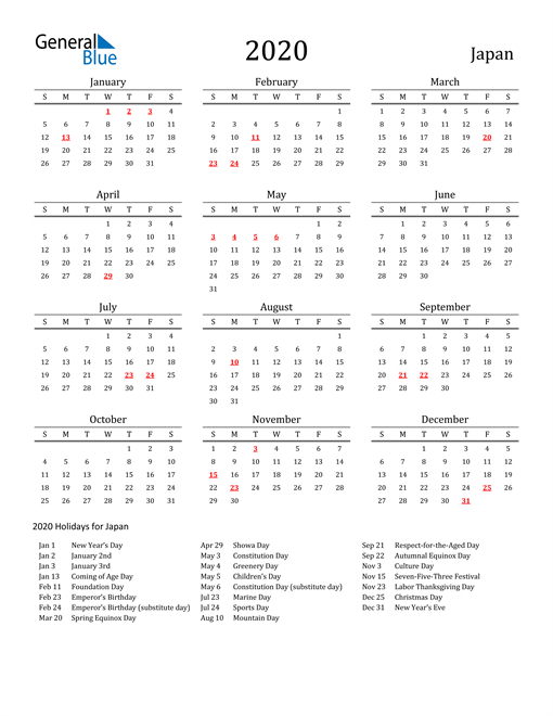 Japan Holidays Calendar for 2020