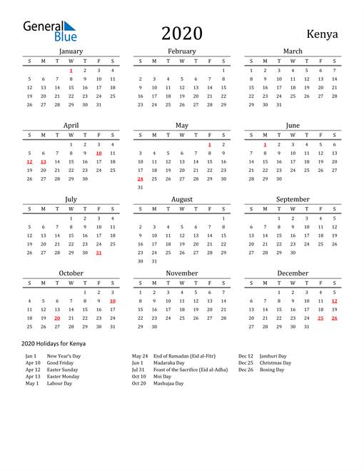 Kenya Holidays Calendar for 2020