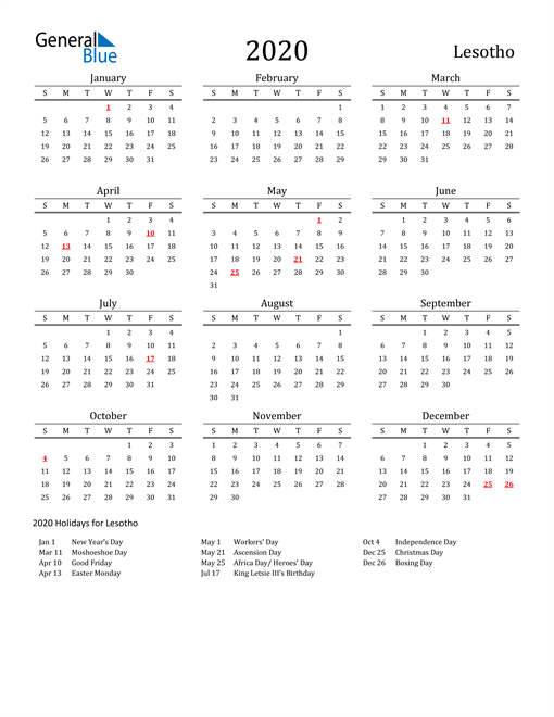 Image of 2020 Printable Calendar Classic for Lesotho with Holidays