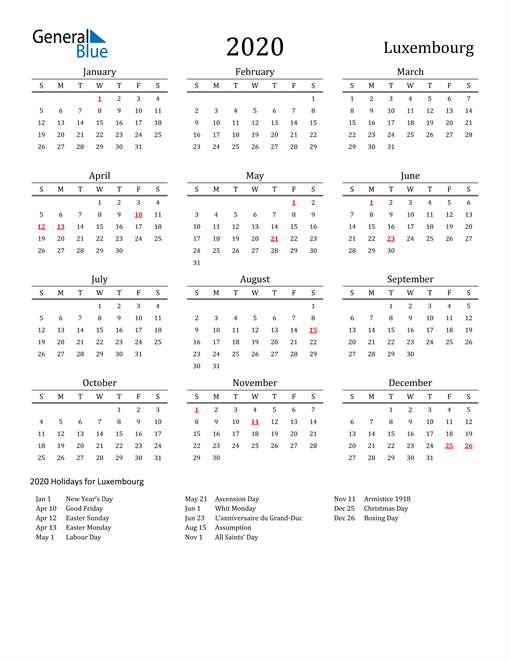 Image of 2020 Printable Calendar Classic for Luxembourg with Holidays
