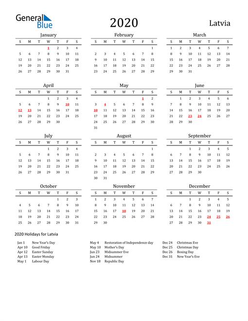 Latvia Holidays Calendar for 2020