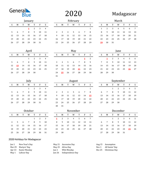 Madagascar Holidays Calendar for 2020