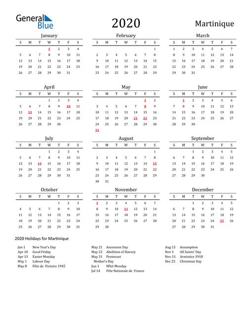 Martinique Holidays Calendar for 2020