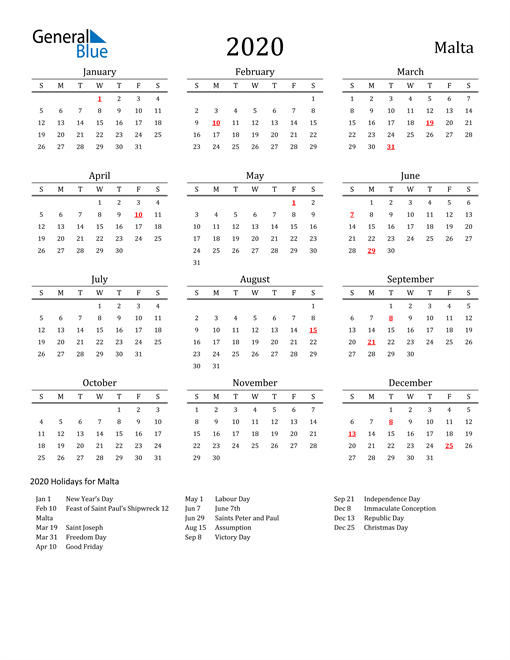 Image of 2020 Printable Calendar Classic for Malta with Holidays
