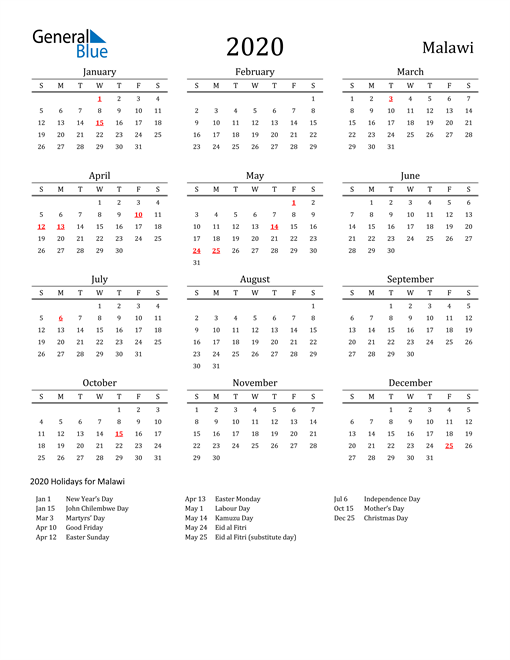 Image of 2020 Printable Calendar Classic for Malawi with Holidays