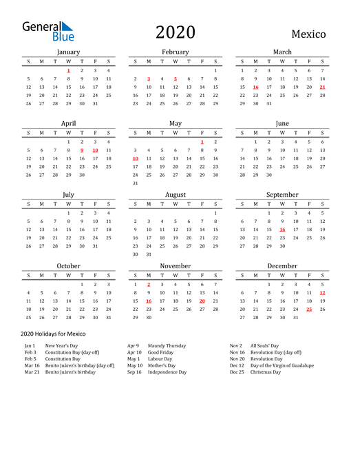 Image of 2020 Printable Calendar Classic for Mexico with Holidays