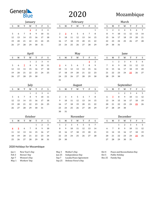 Image of 2020 Printable Calendar Classic for Mozambique with Holidays