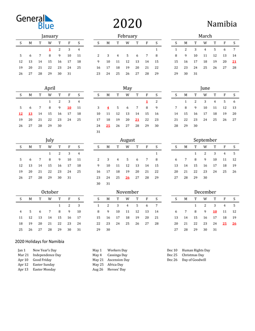 Namibia Holidays Calendar for 2020