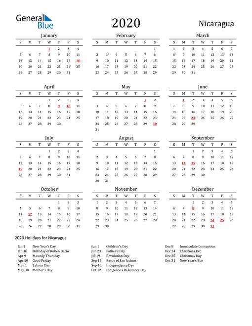 Nicaragua Holidays Calendar for 2020