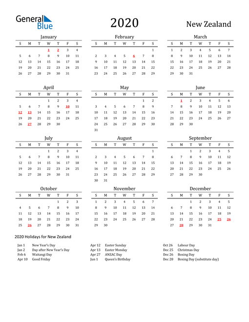 Image of 2020 Printable Calendar Classic for New Zealand with Holidays