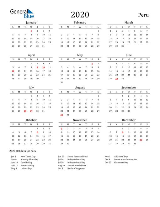 Peru Holidays Calendar for 2020