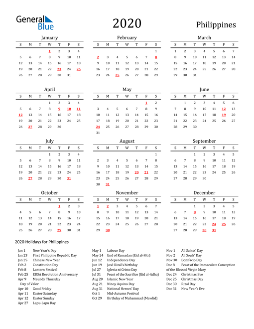 Image of 2020 Printable Calendar Classic for Philippines with Holidays