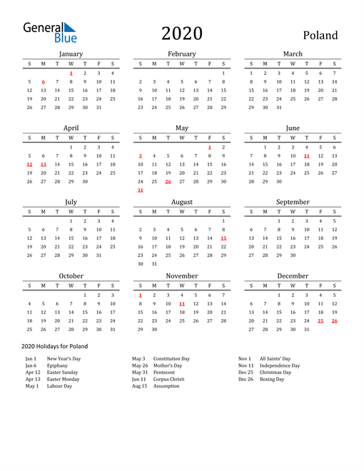 Image of 2020 Printable Calendar Classic for Poland with Holidays