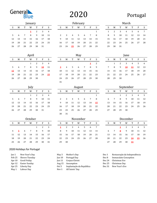 Image of 2020 Printable Calendar Classic for Portugal with Holidays