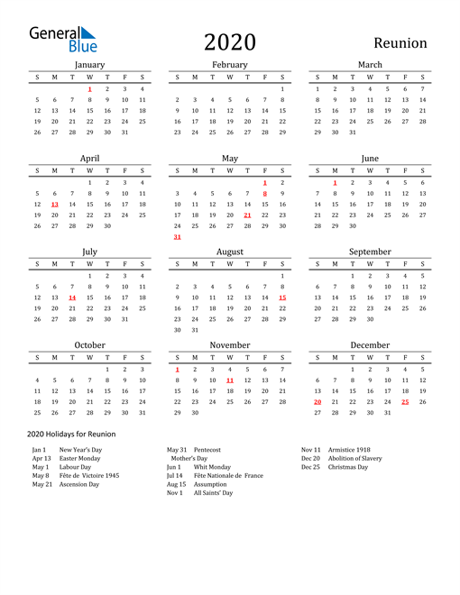 Image of 2020 Printable Calendar Classic for Reunion with Holidays