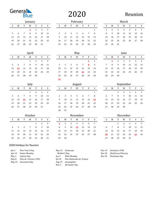 Reunion Holidays Calendar for 2020