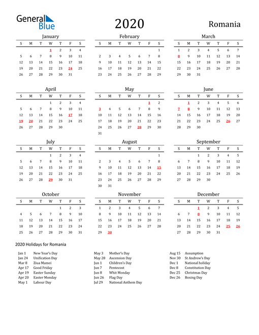2020 Calendar Romania With Holidays