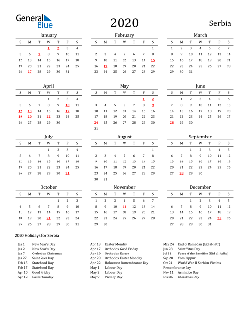 Image of 2020 Printable Calendar Classic for Serbia with Holidays