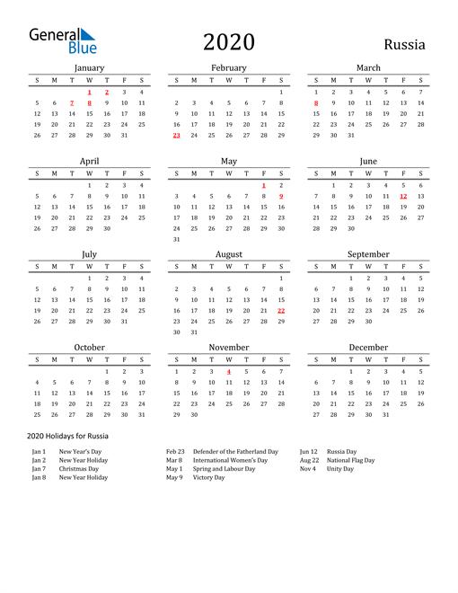 Russia Holidays Calendar for 2020