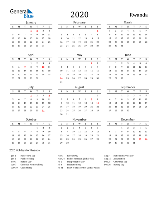 Rwanda Holidays Calendar for 2020