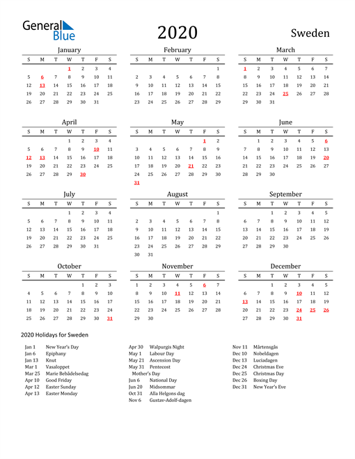 Image of 2020 Printable Calendar Classic for Sweden with Holidays