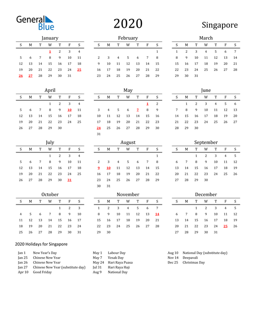 Image of 2020 Printable Calendar Classic for Singapore with Holidays