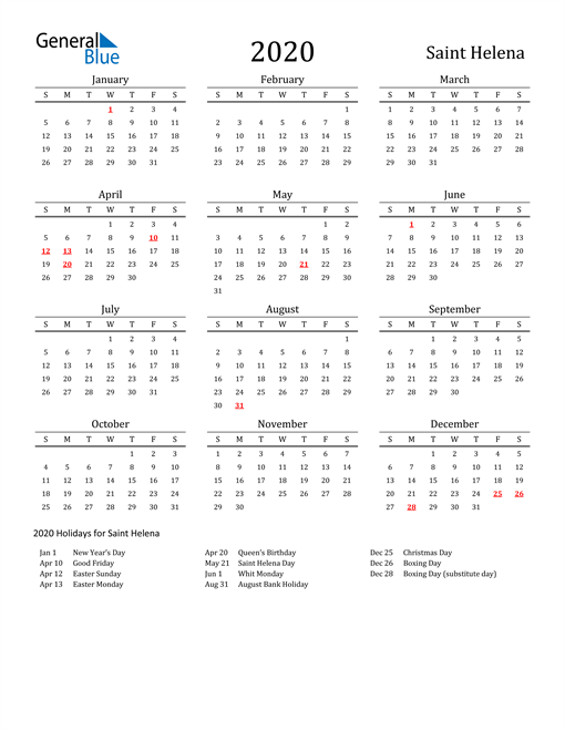 Image of 2020 Printable Calendar Classic for Saint Helena with Holidays