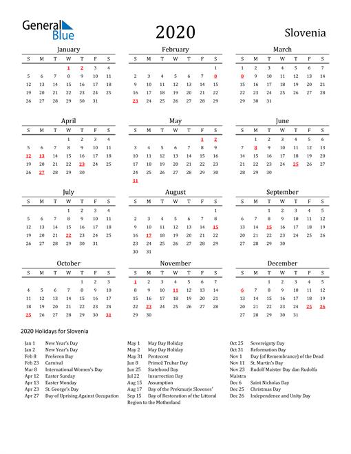 Slovenia Holidays Calendar for 2020