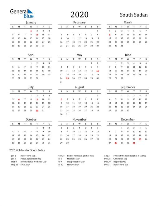 South Sudan Holidays Calendar for 2020