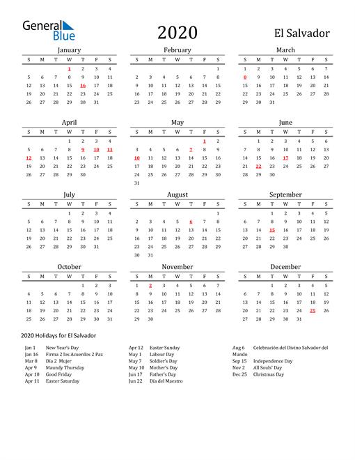 Image of 2020 Printable Calendar Classic for El Salvador with Holidays