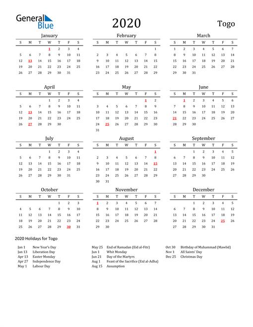 Togo Holidays Calendar for 2020