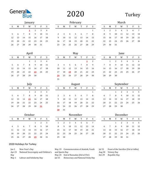 Turkey Holidays Calendar for 2020