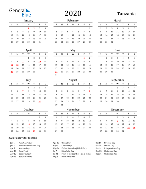 Image of 2020 Printable Calendar Classic for Tanzania with Holidays