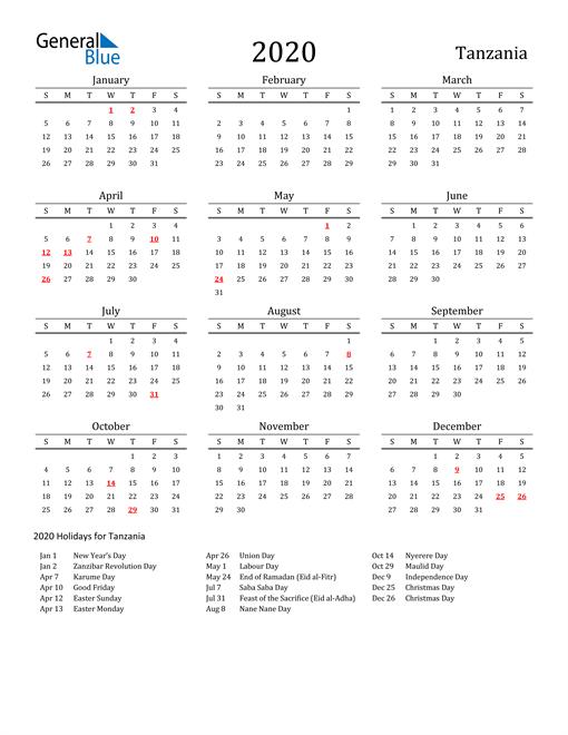 Tanzania Holidays Calendar for 2020