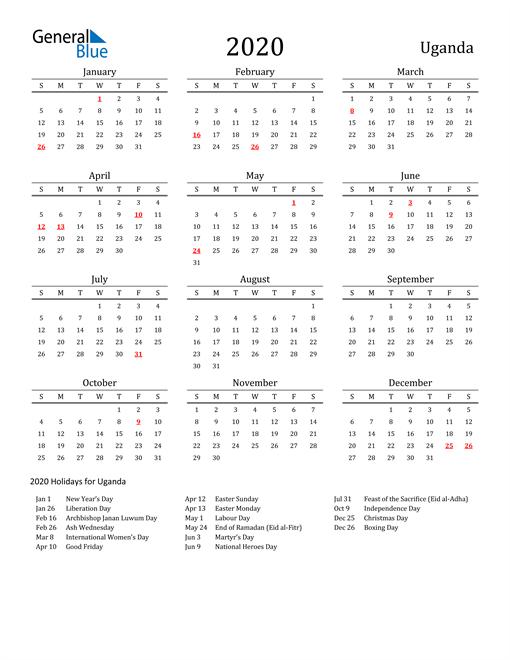 Image of 2020 Printable Calendar Classic for Uganda with Holidays