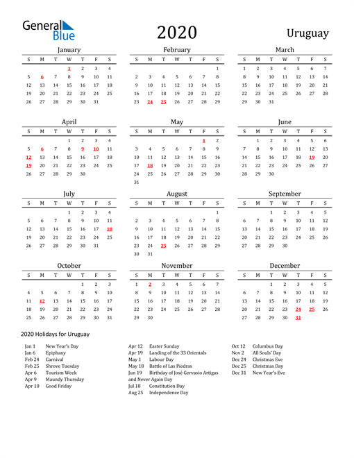 Image of 2020 Printable Calendar Classic for Uruguay with Holidays