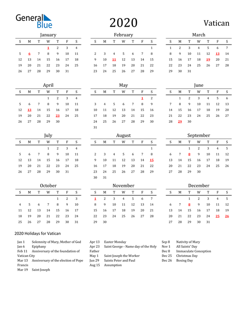Image of 2020 Printable Calendar Classic for Vatican with Holidays