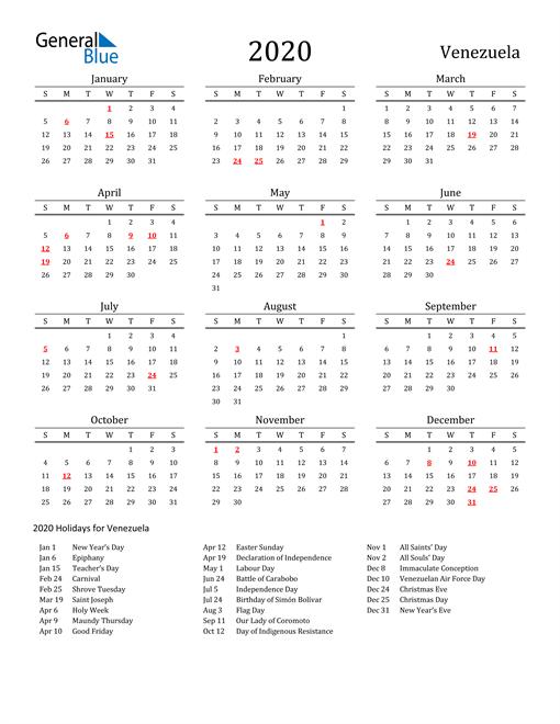 Venezuela Holidays Calendar for 2020