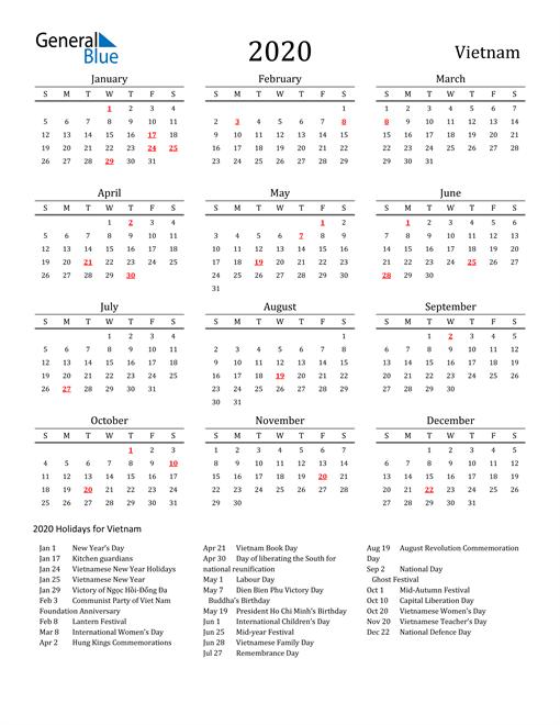 Vietnam Holidays Calendar for 2020