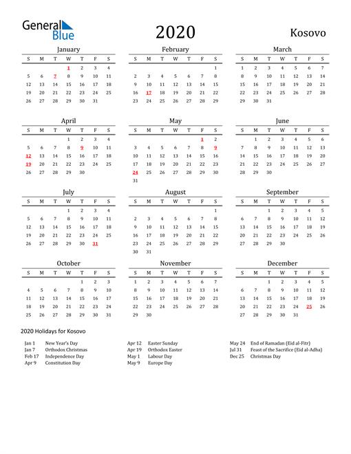 Image of 2020 Printable Calendar Classic for Kosovo with Holidays