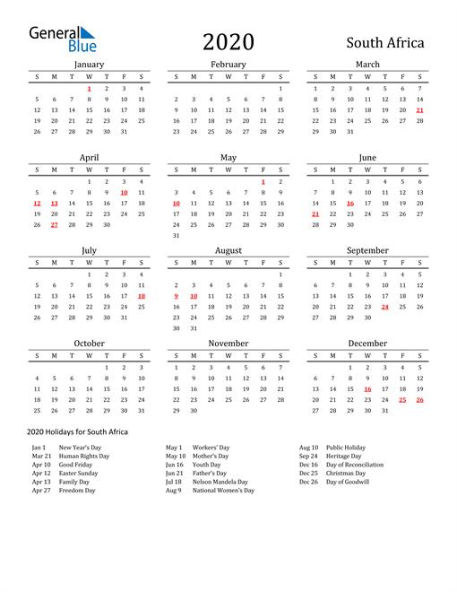 2020 Calendar South Africa With Holidays