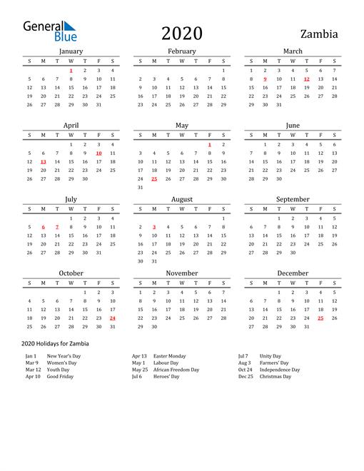 Zambia Holidays Calendar for 2020