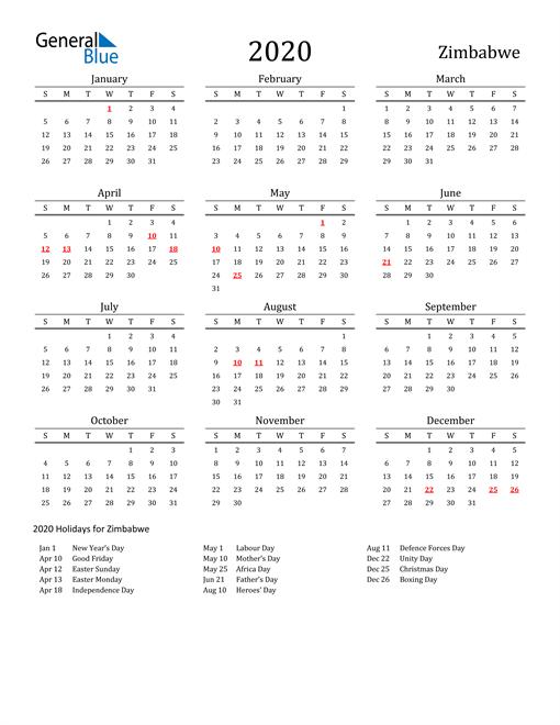 Zimbabwe Holidays Calendar for 2020