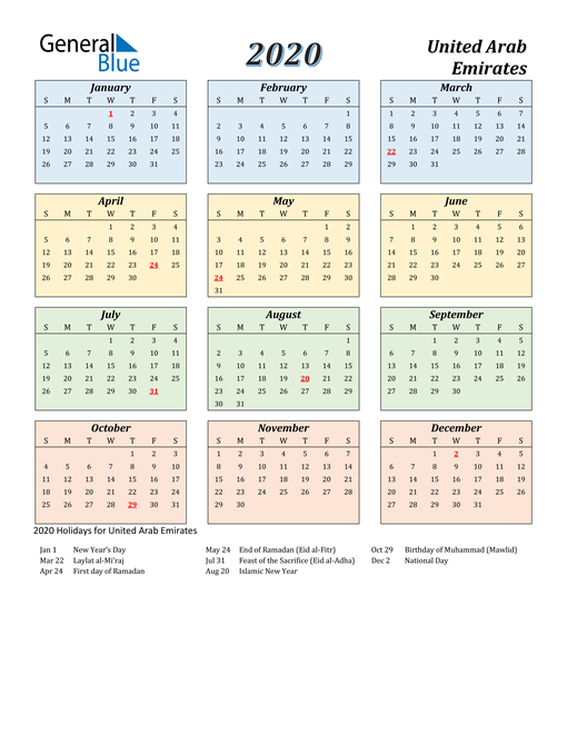 Image of United Arab Emirates 2020 Calendar with Color with Holidays