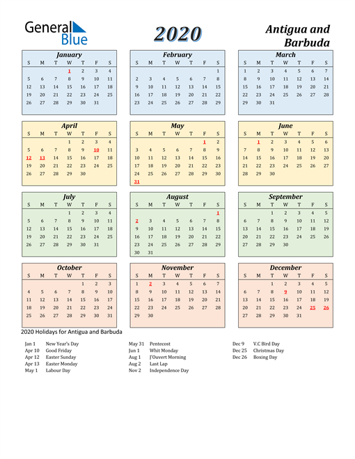 Image of Antigua and Barbuda 2020 Calendar with Color with Holidays