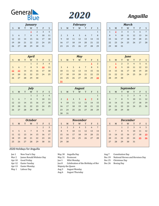 Image of Anguilla 2020 Calendar with Color with Holidays