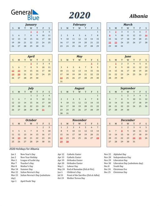 Albania Calendar 2020